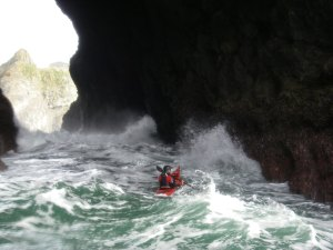 Tiderace Xtra in tunnel. Paddler Paul Kuthe. Photo taken by Dave White