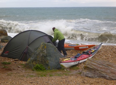 Campsite on beach and surf
